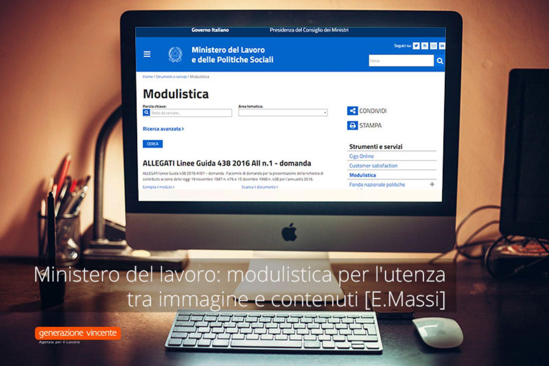 Ministero del lavoro: modulistica per l'utenza tra immagine e contenuti [E.Massi]