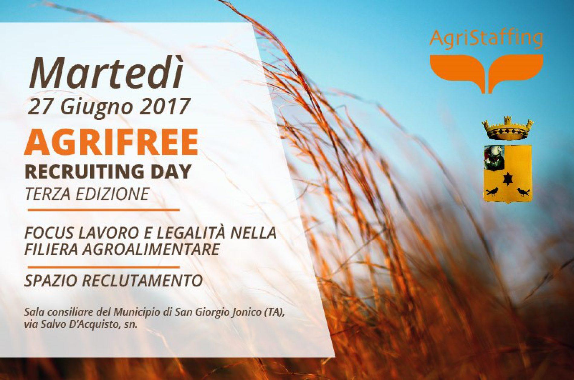 Agrifree Recruiting Day – III Ed.: Focus lavoro e legalità nella filiera agroalimentare [San Giorgio Jonico (TA)]