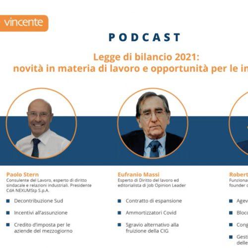 [Podcast Webinar] Legge di Bilancio 2021: novità in materia di lavoro e opportunità per le imprese